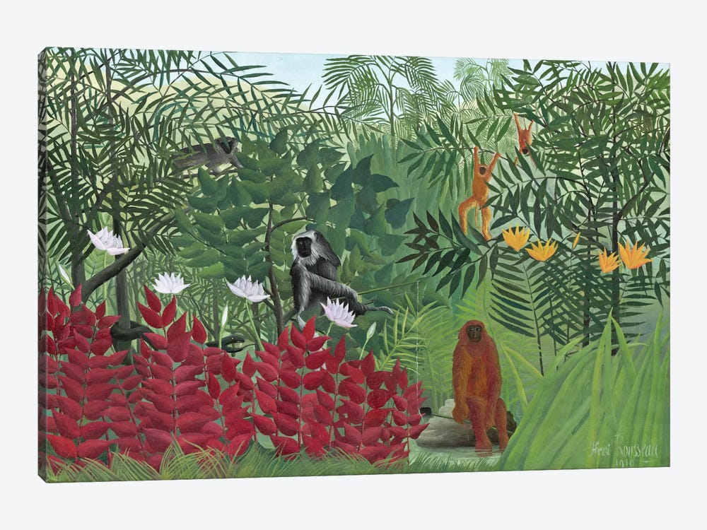 Tropical Forest With Monkeys, 1910 by Henri Rousseau 1-piece Canvas Art Print