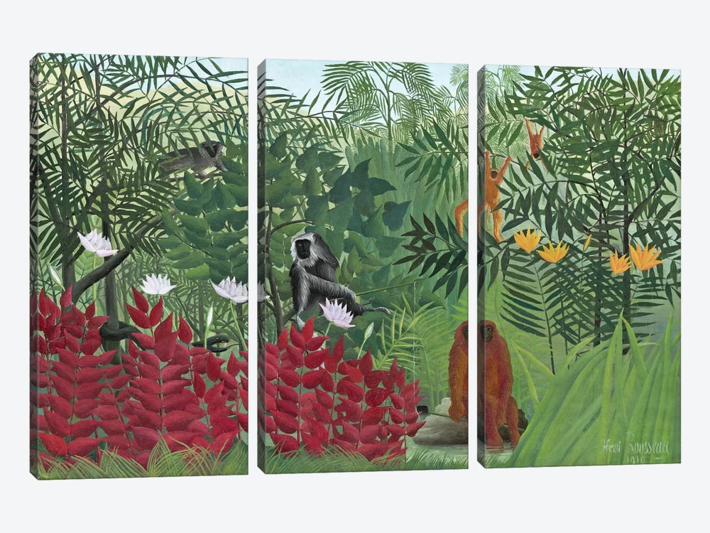Tropical Forest With Monkeys, 1910 by Henri Rousseau 3-piece Canvas Art Print