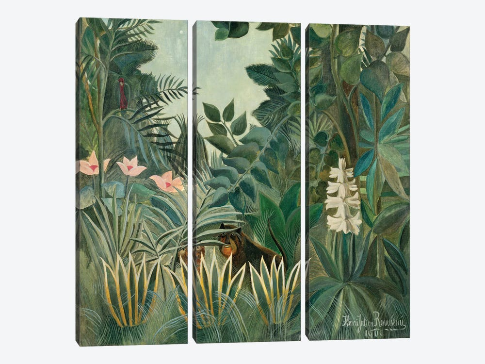The Equatorial Jungle, 1909  by Henri Rousseau 3-piece Art Print