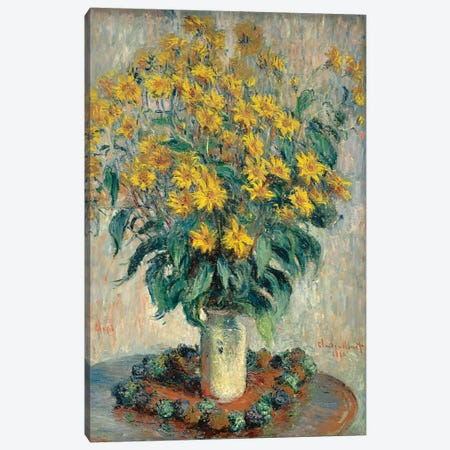 Jerusalem Artichoke Flowers, 1880  Canvas Print #BMN4258} by Claude Monet Canvas Art Print