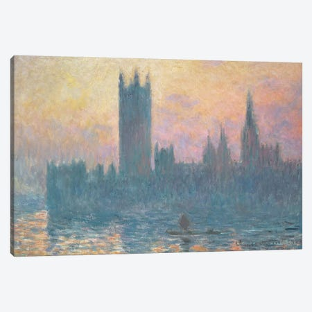 The Houses of Parliament, Sunset, 1903  Canvas Print #BMN4259} by Claude Monet Canvas Print