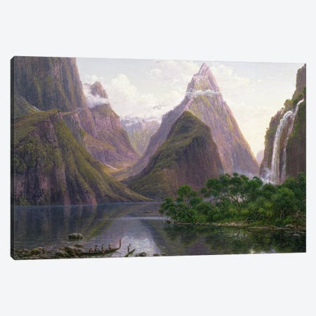 Native figures in a canoe at Milford Sound, West Coast of South Island, New Zealand, also depicted are Mitre Peak and Bowens Fall, 1892 Canvas Print #BMN428} by Eugen von Guerard Canvas Wall Art