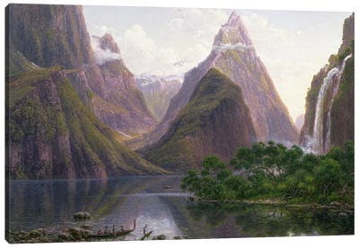 Native figures in a canoe at Milford Sound, West Coast of South Island, New Zealand, also depicted are Mitre Peak and Bowens Fal Canvas Art Print