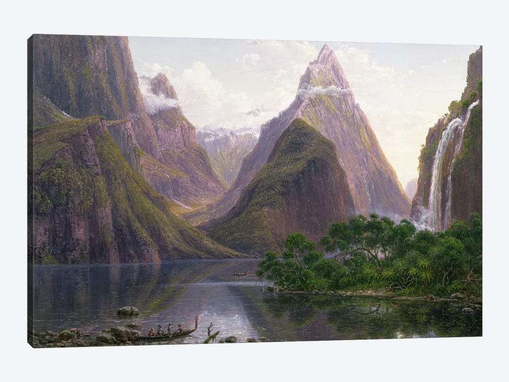 Native figures in a canoe at Milford Sound, West Coast of South Island, New Zealand, also depicted are Mitre Peak and Bowens Fal 1-piece Canvas Wall Art