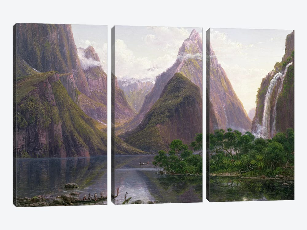 Native figures in a canoe at Milford Sound, West Coast of South Island, New Zealand, also depicted are Mitre Peak and Bowens Fal 3-piece Canvas Wall Art