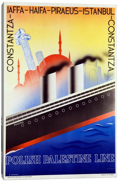 Poster advertising the Polish Palestine Line, c.1933 (colour litho) Canvas Art Print