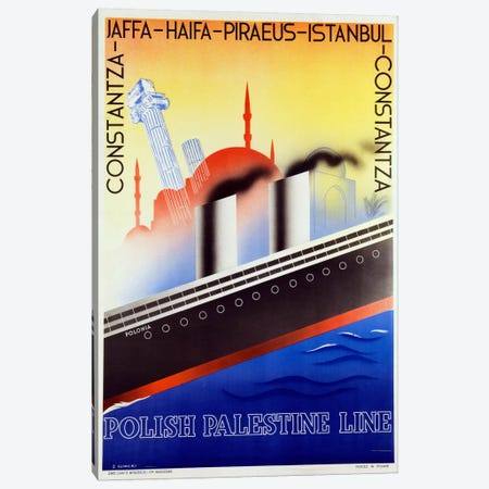 Poster advertising the Polish Palestine Line, c.1933 (colour litho) Canvas Print #BMN42} by Zygmunt Glinicki Canvas Wall Art
