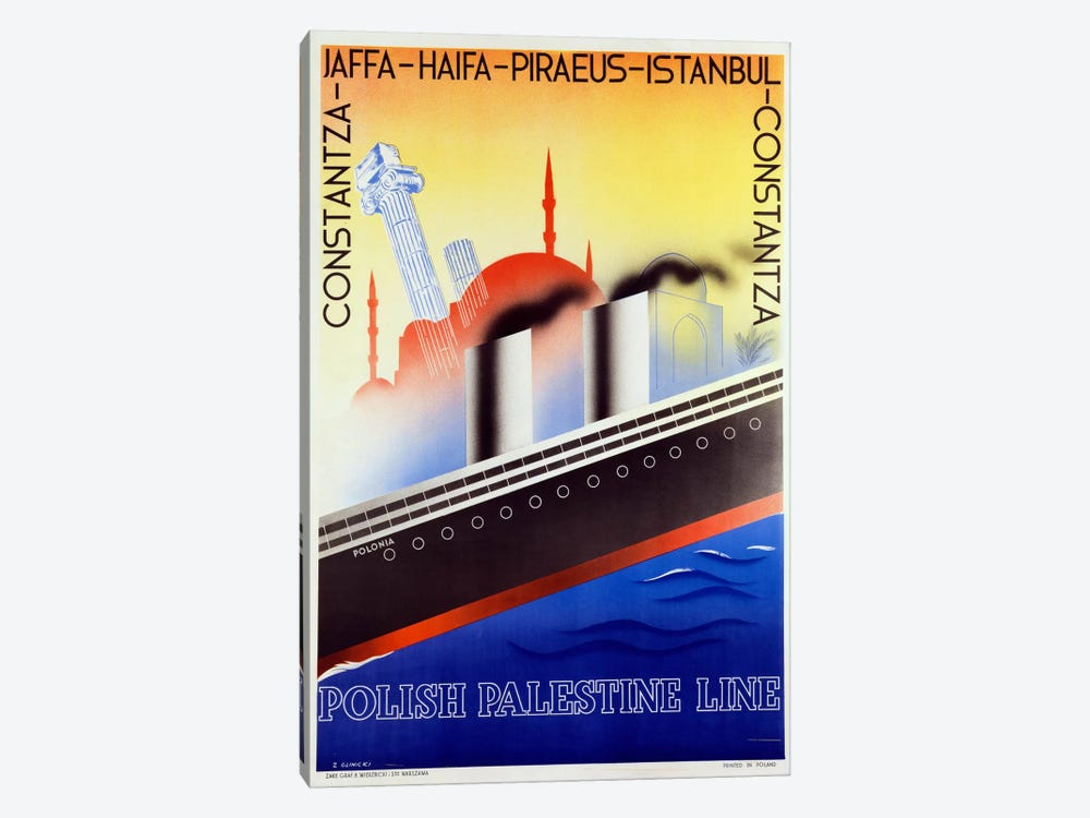 Poster advertising the Polish Palestine Line, c.1933 (colour litho) by Zygmunt Glinicki 1-piece Canvas Wall Art