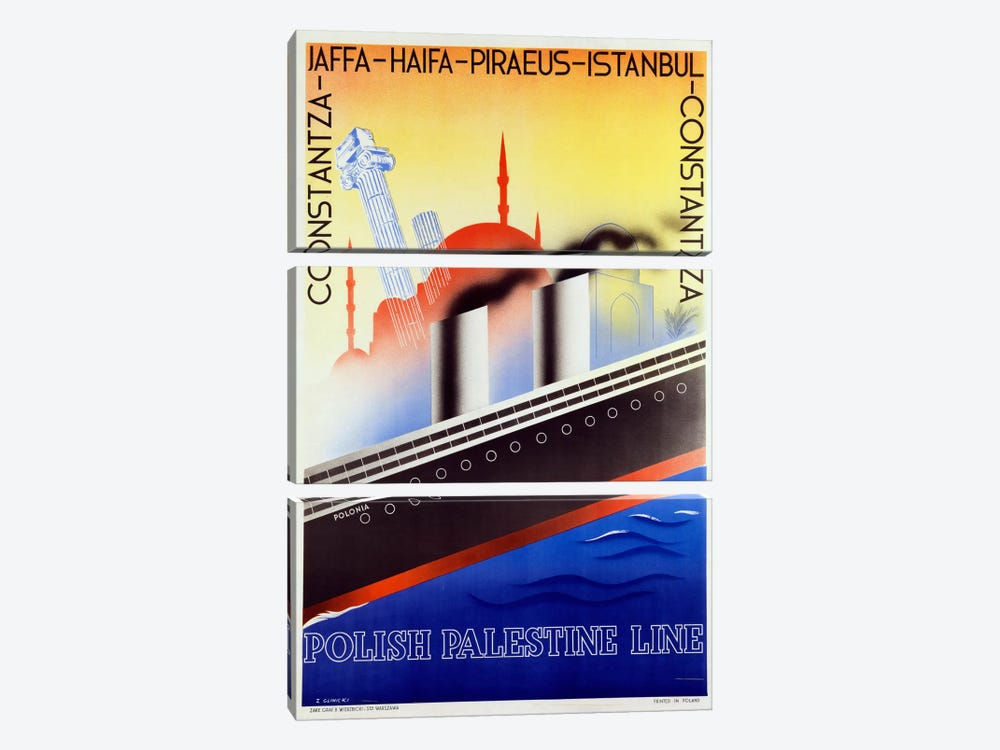 Poster advertising the Polish Palestine Line, c.1933 (colour litho) by Zygmunt Glinicki 3-piece Canvas Wall Art