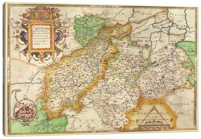 Map Of Northampton And Adjacent Counties, Atlas Of England And Wales, 1576  Canvas Art Print
