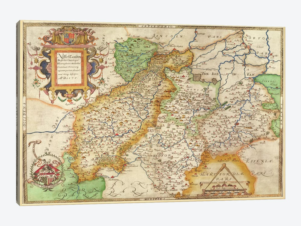 Map of Northampton and adjacent counties, from 'Atlas of England and Wales', 1576 by Christopher Saxton 1-piece Art Print