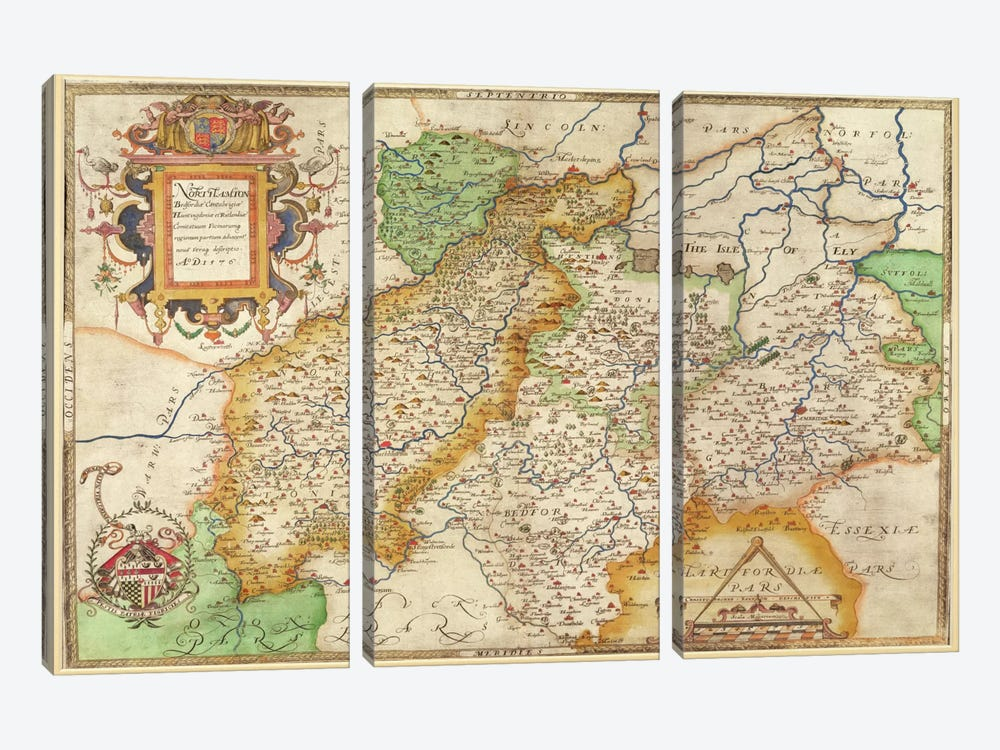 Map Of Northampton And Adjacent Counties, Atlas Of England And Wales, 1576  by Christopher Saxton 3-piece Art Print