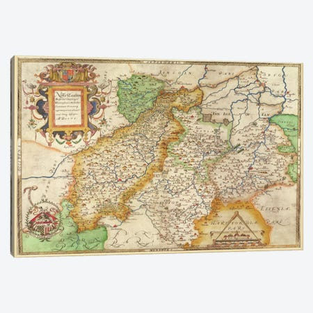Map Of Northampton And Adjacent Counties, Atlas Of England And Wales, 1576  Canvas Print #BMN432} by Christopher Saxton Canvas Print