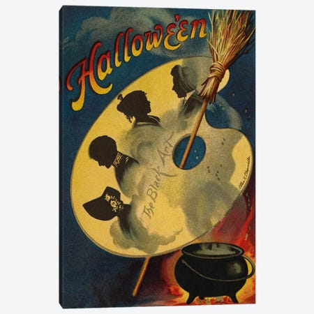 Halloween, the Black Art, 1912  Canvas Print #BMN4332} by Ellen Hattie Clapsaddle Canvas Wall Art