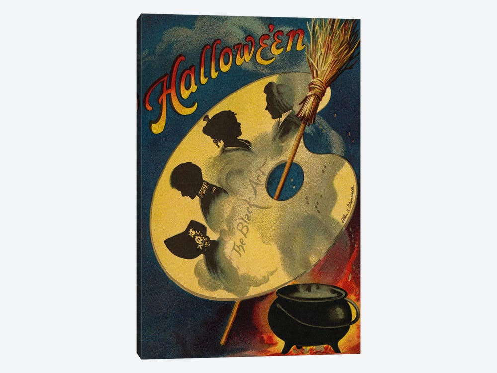 Halloween, the Black Art, 1912  by Ellen Hattie Clapsaddle 1-piece Canvas Wall Art
