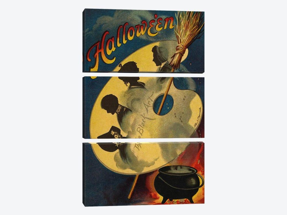 Halloween, the Black Art, 1912  by Ellen Hattie Clapsaddle 3-piece Canvas Artwork