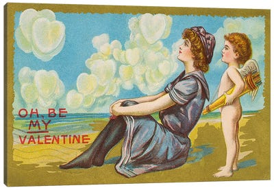 Oh Be My Valentine postcard, 1911  Canvas Art Print