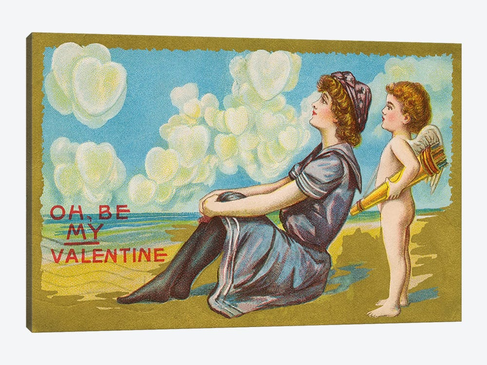 Oh Be My Valentine postcard, 1911  by American School 1-piece Canvas Print