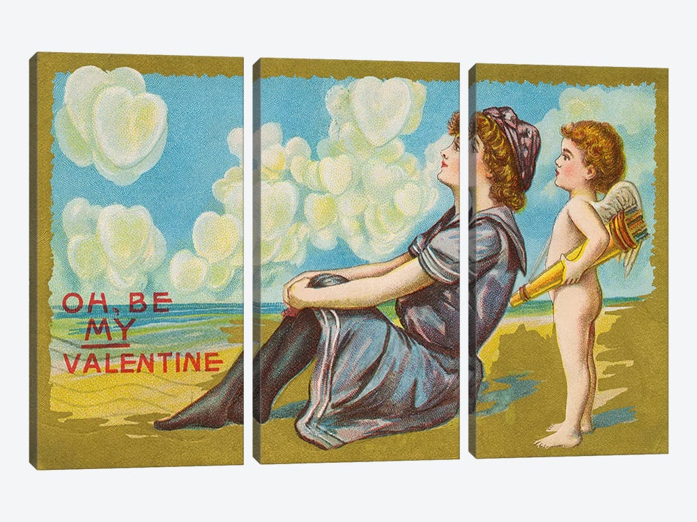 Oh Be My Valentine postcard, 1911  by American School 3-piece Canvas Print