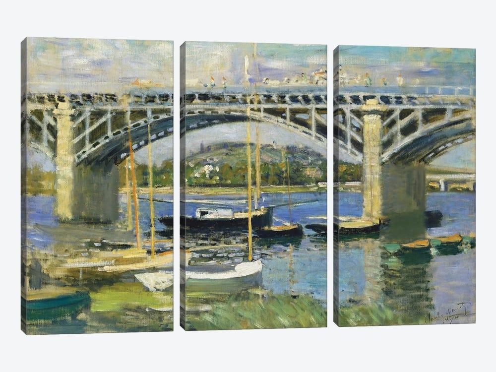 Bridge over the River at Argenteuil, 1874  by Claude Monet 3-piece Canvas Art Print