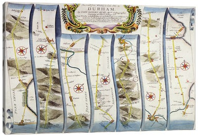 Road from Whitby to Durham, from John Ogilby's 'Britannia', published London, 1675 Canvas Art Print