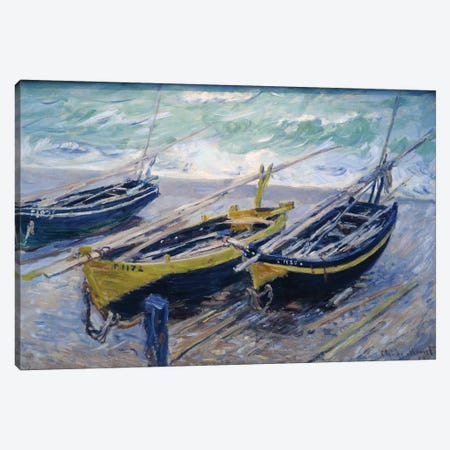 Three Fishing Boats, 1886  Canvas Print #BMN4343} by Claude Monet Art Print