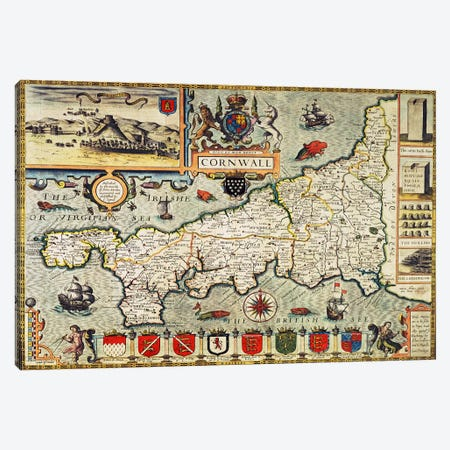 Map of Cornwall from the 'Theatre of the Empire of Great Britain', pub. in London by George Humble, 1627 edition  Canvas Print #BMN434} by John Speed Canvas Wall Art