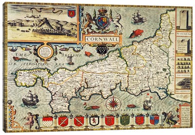 Map of Cornwall from the 'Theatre of the Empire of Great Britain', pub. in London by George Humble, 1627 edition  Canvas Art Print