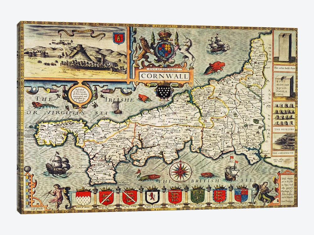 Map of Cornwall from the 'Theatre of the Empire of Great Britain', pub. in London by George Humble, 1627 edition  by John Speed 1-piece Canvas Art Print
