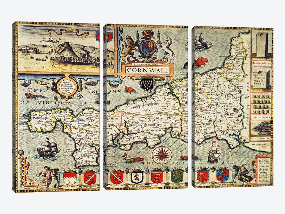 Map of Cornwall from the 'Theatre of the Empire of Great Britain', pub. in London by George Humble, 1627 edition  by John Speed 3-piece Art Print