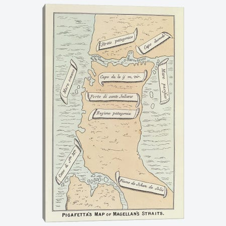 Pigafetta's Map Of Magellan's Straits Canvas Print #BMN4353} by Antonio Pigafetta Canvas Wall Art