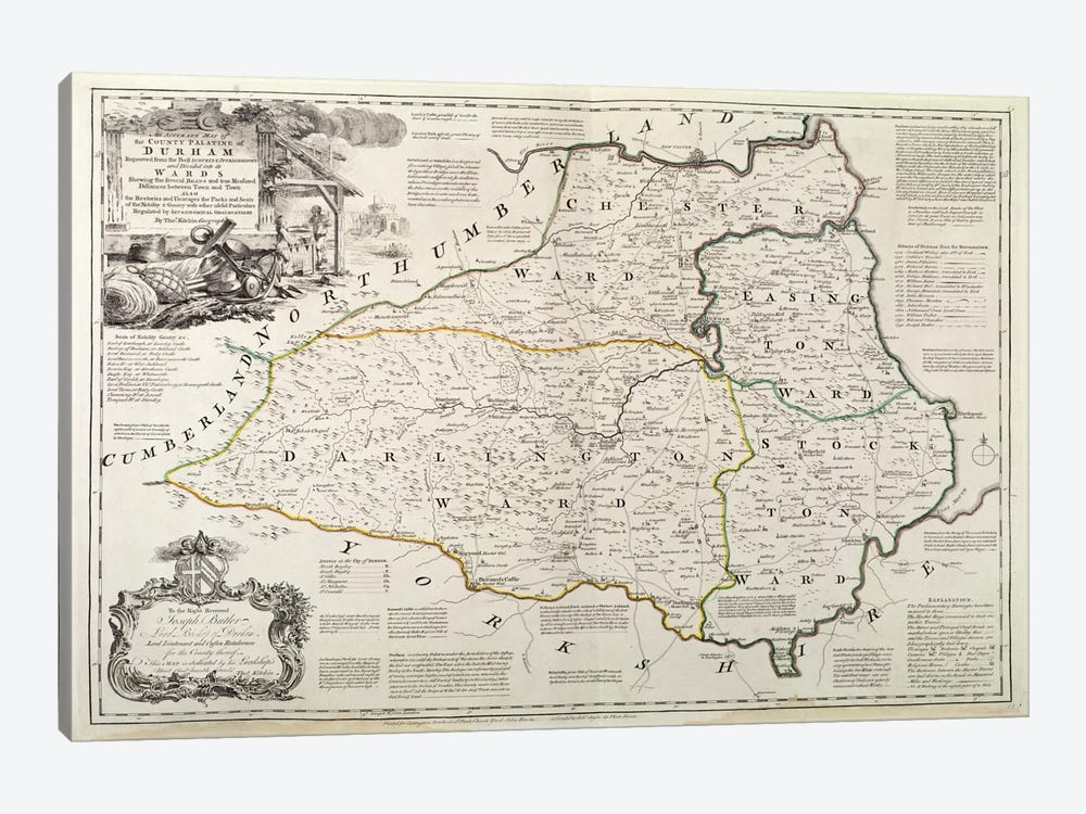 Map of Durham, 1777  by Thomas Kitchin 1-piece Canvas Art