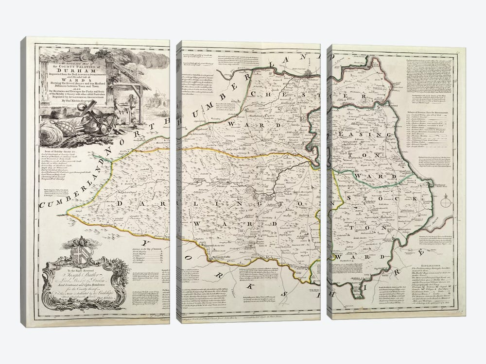 Map of Durham, 1777  by Thomas Kitchin 3-piece Canvas Wall Art