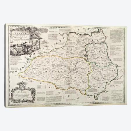 Map of Durham, 1777  Canvas Print #BMN435} by Thomas Kitchin Canvas Artwork