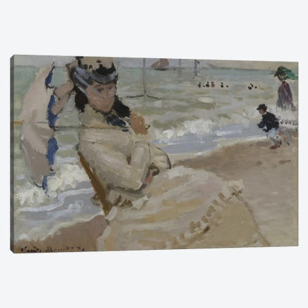 Camille on the Beach in Trouville, 1870  Canvas Print #BMN4365} by Claude Monet Canvas Wall Art