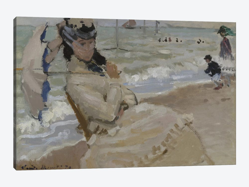 Camille on the Beach in Trouville, 1870  by Claude Monet 1-piece Canvas Art