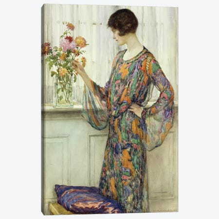 Arranging Flowers  Canvas Print #BMN4369} by William Henry Margetson Art Print