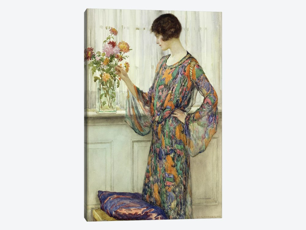 Arranging Flowers  by William Henry Margetson 1-piece Canvas Wall Art