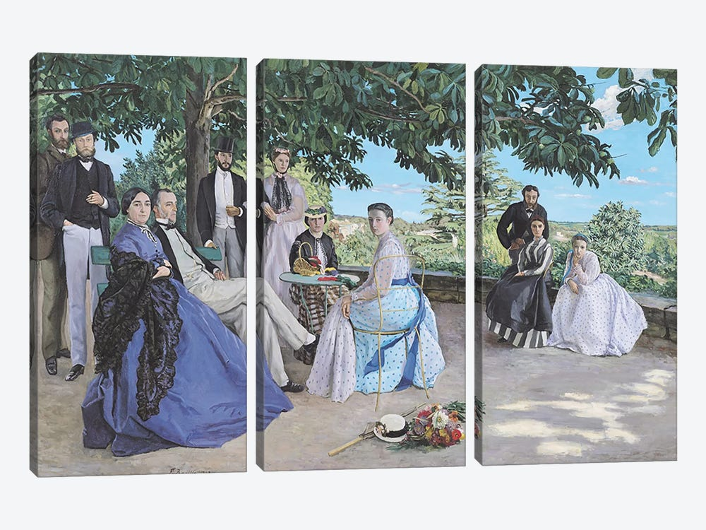 Family reunion, 1867 by Jean Frederic Bazille 3-piece Canvas Artwork