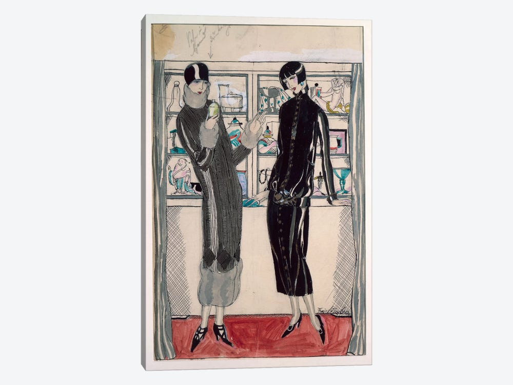 Twenties women's fashion plate, by M. Friedlaender, watercolor by Unknown Artist 1-piece Canvas Print