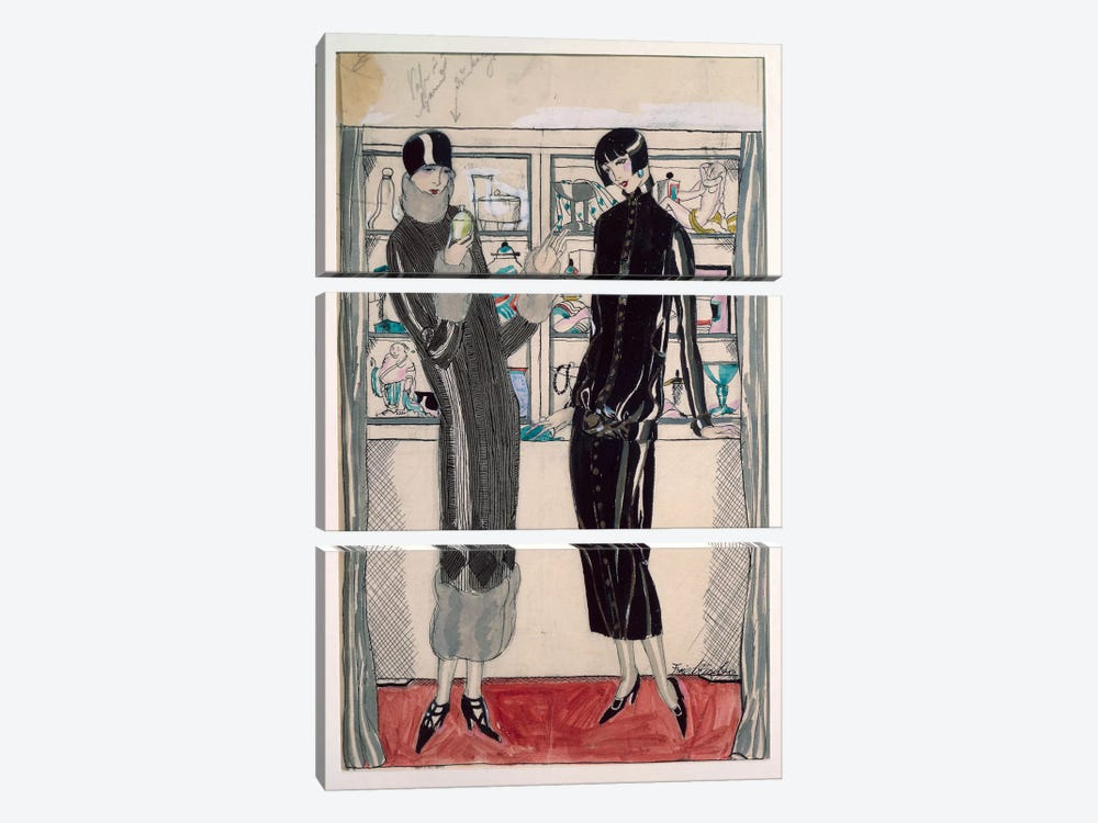 Twenties women's fashion plate, by M. Friedlaender, watercolor by Unknown Artist 3-piece Art Print