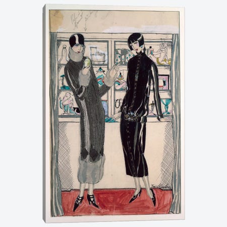 Twenties women's fashion plate, by M. Friedlaender, watercolor Canvas Print #BMN43} by Unknown Artist Canvas Artwork
