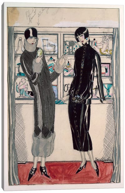 Twenties women's fashion plate, by M. Friedlaender, watercolor Canvas Art Print