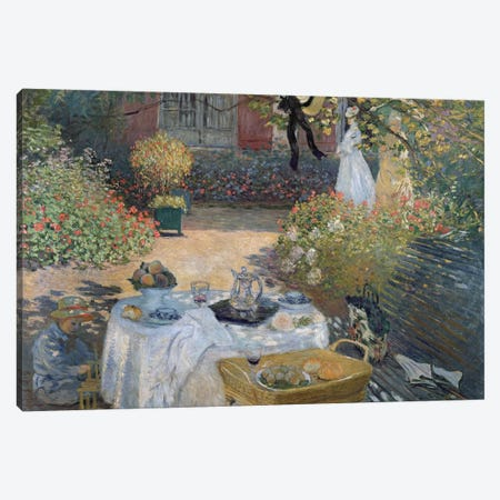The Luncheon: Monet's garden at Argenteuil, c.1873  Canvas Print #BMN440} by Claude Monet Canvas Artwork