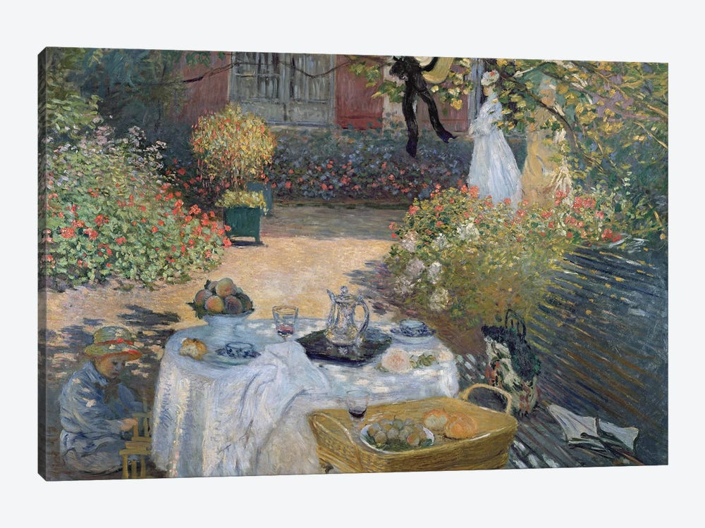The Luncheon: Monet's garden at Argenteuil, c.1873  by Claude Monet 1-piece Canvas Art