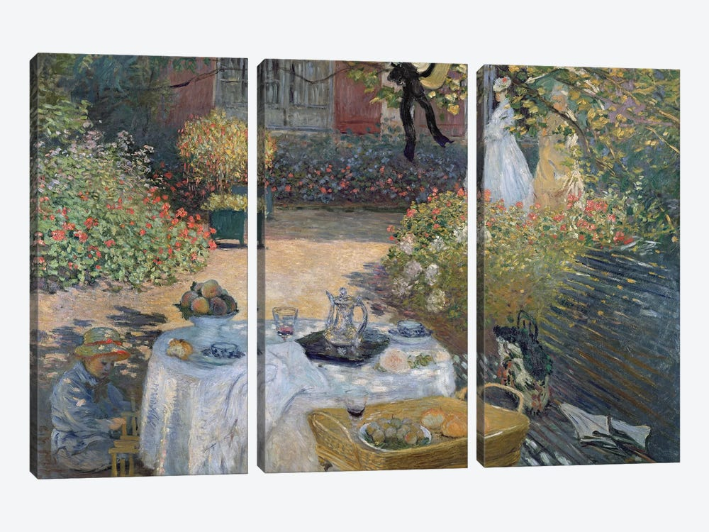 The Luncheon: Monet's garden at Argenteuil, c.1873  by Claude Monet 3-piece Canvas Art