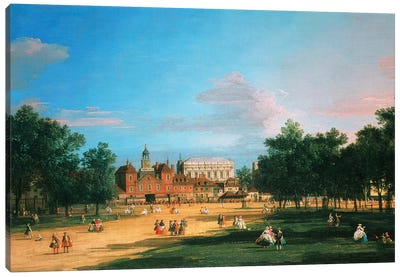 Old Horse Guards and the Banqueting Hall, Whitehall from St James's Park, 1749  Canvas Art Print