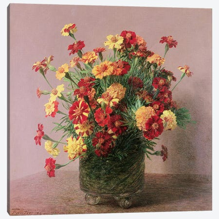 Oiellets d'Inde, 1893 Canvas Print #BMN4414} by Ignace Henri Jean Theodore Fantin-Latour Canvas Artwork