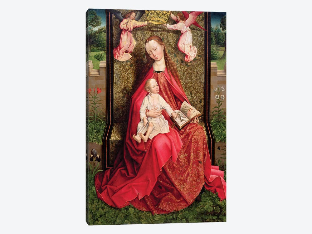 Virgin and Child  by Master of the Embroidered Foliage 1-piece Canvas Wall Art