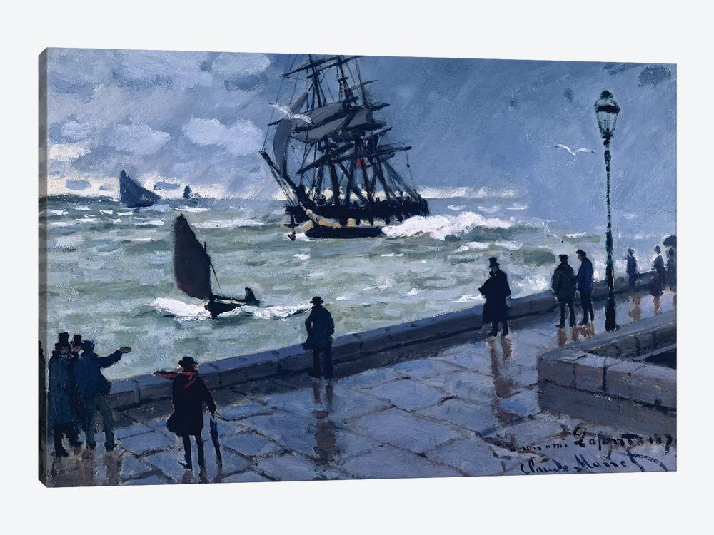 The Jetty at Le Havre, Bad Weather, 1870 by Claude Monet 1-piece Canvas Print